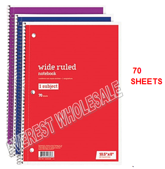 1 Subject Notebook 70 Quality Sheets * 12 pcs
