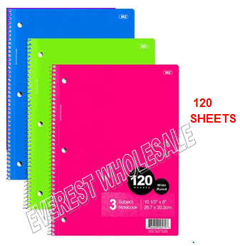 3 Subject Notebook 120 Quality Sheets * 12 pcs