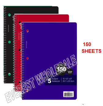 5 Subject Notebook 150 Quality Sheets * 12 pcs