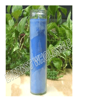 7 Days Candle With Glass Jar * Plain Blue * 12 pcs