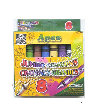 Apex Jumbo Crayons Assorted Colors 8 ct Pack * 12 pcs