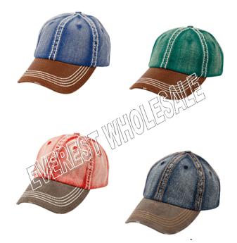 Baseball Cap - Heavy Stitch 2 Tones * Assorted Colors * 6 pcs