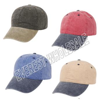 Baseball Cap - Washed 2 Tones * Assorted Colors * 6 pcs