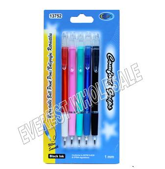 Clear Barrel Retractable Ball Point Pens 5 ct Pack * 12 Pack