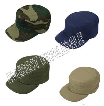 Cotton Army Caps * Assorted Colors * 6 pcs