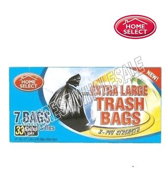 Home Select Black Trash Bags 33 gal x 7 count * 24 pcs