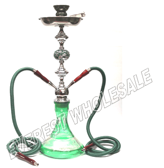 Hookah Green 25 inch Metal Shaft with Case - Two Hoses