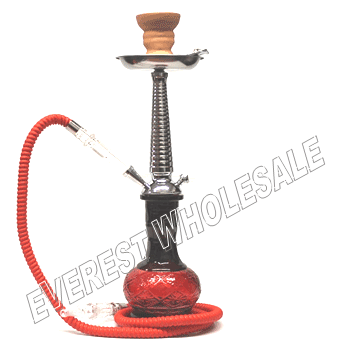 Hookah Red 25 inch Metal Shaft with Case - Single Hose