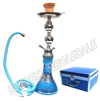 Hookah Blue Star 25 inch Metal Shaft with Case - Single Hose
