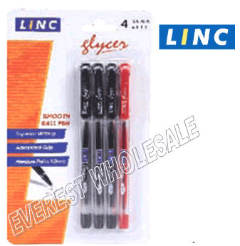 Linc Glyser Ball Point Pen 4 Count Pack * 3 Black + 1 Red * 6 Pack