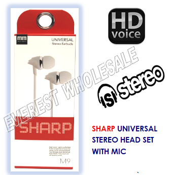 Sharp Universal Earbuds with Microphone * White