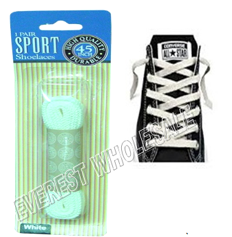 Shoe Lace 45 inch 1 pair / pack * White * 12 pks
