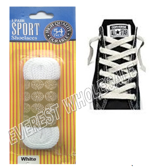Shoe Lace 54 inch 1 pair / pack * White * 12 pks