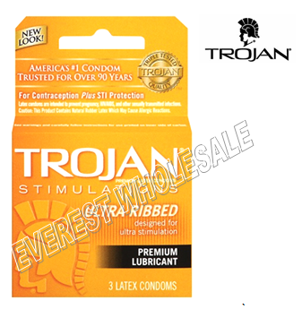 Trojan Condom 3 in Pack * Ultra Ribbed * 6 pks