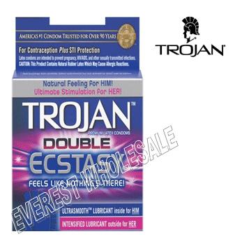 Trojan Condom 3 in pack * Double Ecstasy * 6 pks
