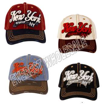 Baseball Cap Vintage New York * Assorted Colors * 6 pcs