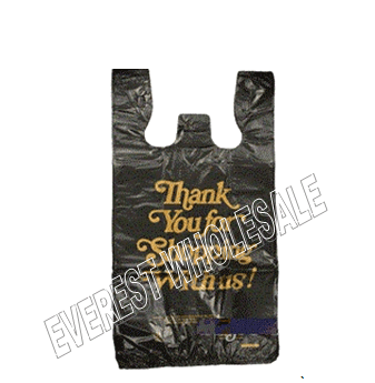 1/8 Black Plastic Shopping Bag 20 Micron * Thank You Gold Printed * 1000 ct