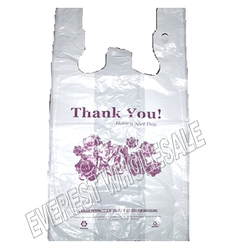 "1/6 White Shopping Bag 20 Micron "" Flower Design "" 400 ct"