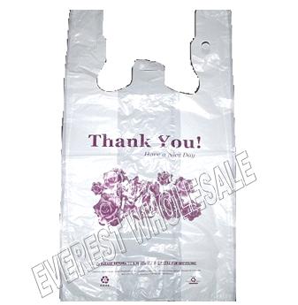 "1/6 White Shopping Bag 20 Micron "" Flower Design "" 400 ct"