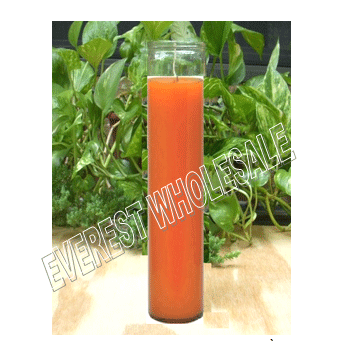 7 Days Candle With Glass Jar * Plain Orange * 12 pcs