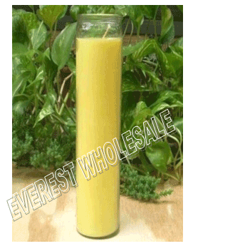 7 Days Candle With Glass Jar * Plain Yellow * 12 pcs