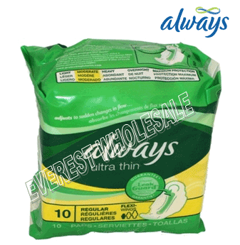 Always Ultra Thin * Regular With Wings 10 ct * 12 pcs