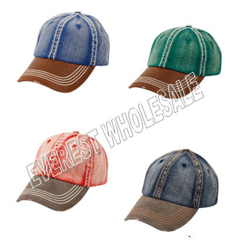 Baseball Cap - Heavy Stitch 2 Tones * Assorted Colors * 6 pcs