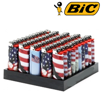Bic Disposable Lighter * USA Flag * 50 ct