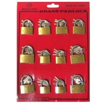 Brass Padlock 25-30-35 mm Assorted Display 12 pcs