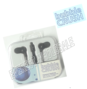 Bubble Crush Earphones - Stereo - Volume Control - Microphone * Black
