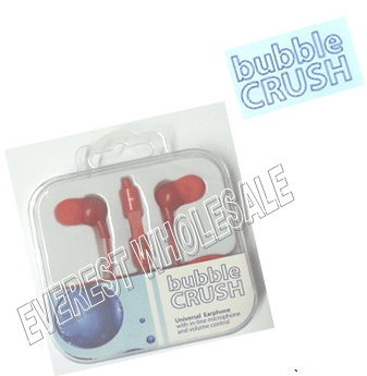 Bubble Crush Earphones - Stereo - Volume Control - Microphone * Red