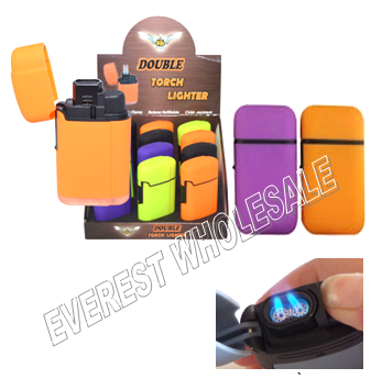 Double Torch Lighter * Assorted Colors * 15 pcs