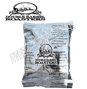Double Barrel Roasted Ground Coffee 2.20 oz * French Vanilla * 100 pks Case + Filters *