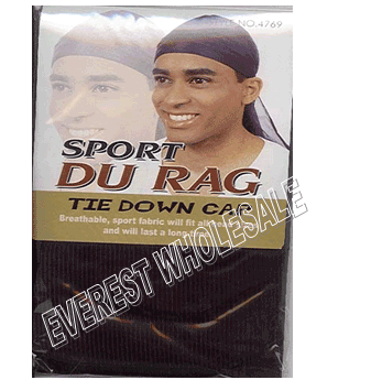Durag Sport Tie Down Cap * Black * 12 pcs
