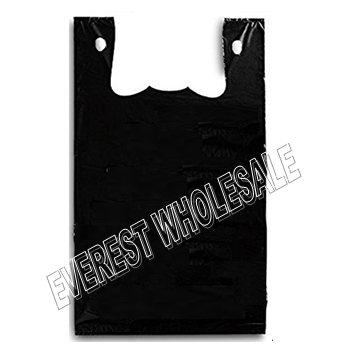 1/6 Black Plastic Heavy Duty Shopping Bag 50 Micron 140 ct