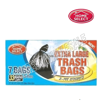 Home Select Black Trash Bags 33 gal x 7 count * 24 pcs