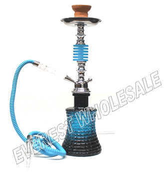 Hookah Blue Black 25 inch Metal Shaft with Case - Single Hose
