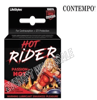 Contempo Condom * Hot Rider Passion Hot * 3 in Pack * 6 pks