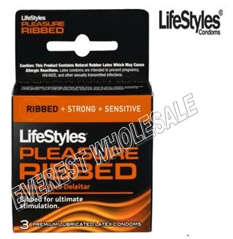 Life Styles Condom 3 in Pack * Pleasure Ribbed * 6 pks