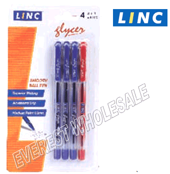 Linc Glyser Ball Point Pen 4 Count Pack * 3 Blue + 1 Red * 6 Pack
