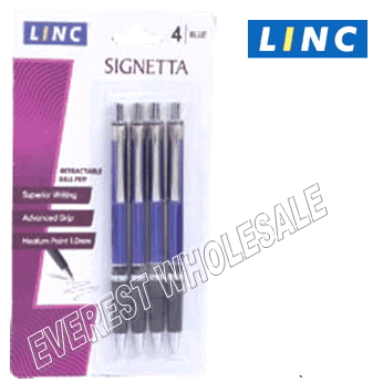 Linc Signeta Recractable Pen 4 pcs Pack * Blue * 6 Packs