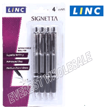 Linc Signeta Recractable Pen 4 pcs Pack * Black * 6 Packs