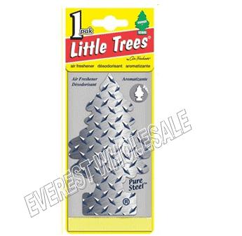 Little Trees Car Freshener * Pure Steel * 1`s x 24 ct