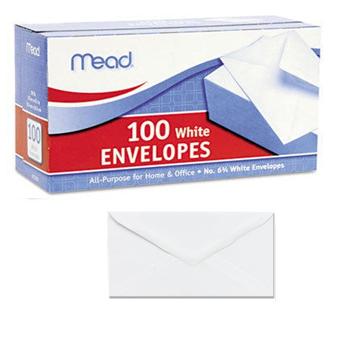Mead Plain White Envelope 100 ct Box * Small * 6 Boxes