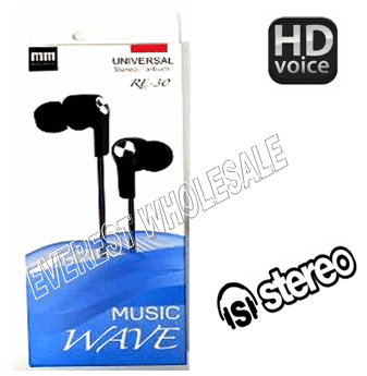 Music Wave Stereo Earbuds with Microphone * Black * 6 pcs