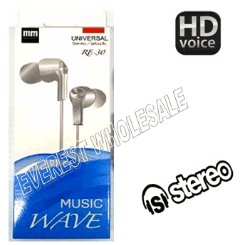 Music Wave Stereo Earbuds with Microphone * White * 6 pcs