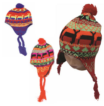 Neon Winter Hat With Rope Assorted Color * 6 pcs