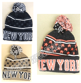 Winter Hat Polar Fleeced NY Printed * Assorted Colors * 6 pcs