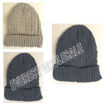 Winter Hat Ribbed Cashmere Polar Fleeced * Assorted Colors * 6 pcs