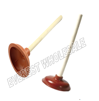 Rubber Plunger With Wood Holder * Brown Color * 12 pcs
